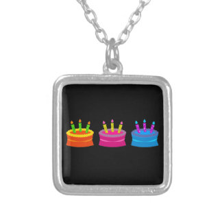 Vibrant Birthday Cakes Silver Plated Necklace