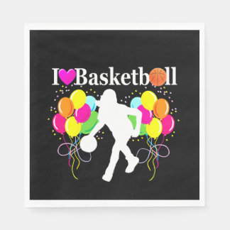 VIBRANT BLACK I LOVE BASKETBALL PAPER NAPKINS