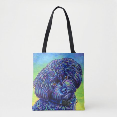 Vibrant Black Toy Poodle Cute Dog Tote Bag