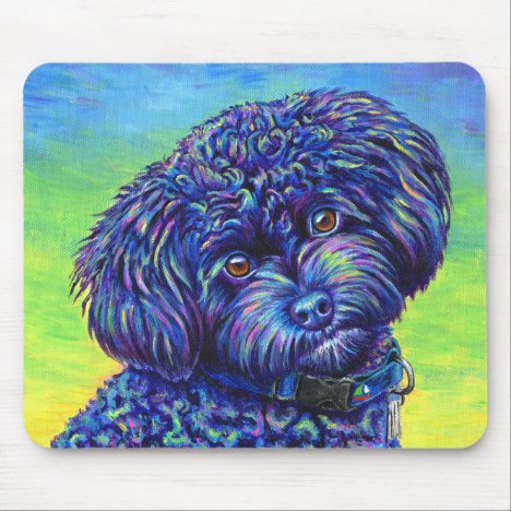 Vibrant Black Toy Poodle Mousepad
