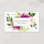 """Vibrant Bloom   Modern Floral Business Card<br><div class=""""desc"""">Elegant floral business cards feature a bouquet of watercolor painted peony and rose flowers in vibrant shades of violet purple, blush pink and green. Your name and title or profession are displayed in the center in modern lettering on a white rectangular element. Add your full contact details, including social media...</div>"""