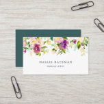 """Vibrant Bloom   Modern Watercolor Floral Business Card<br><div class=""""desc"""">Garden floral chic business cards feature a top border of rose and peony flowers in lush,  rich watercolor shades of violet purple,  blush pink and spring green. Add your contact information to the reverse side in white on jewel tone jasper green for a chic pop of color.</div>"""