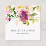 """Vibrant Bloom   Modern Watercolor Floral Square Business Card<br><div class=""""desc"""">Garden floral chic business cards in a unique square format feature a top border of rose and peony flowers in lush, rich watercolor shades of violet purple, blush pink and spring green. Add your contact information to the reverse side in white on jewel tone jasper green for a chic pop...</div>"""