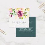 "Vibrant Bloom | Modern Watercolor Floral Square Business Card<br><div class=""desc"">Garden floral chic business cards in a unique square format feature a top border of rose and peony flowers in lush, rich watercolor shades of violet purple, blush pink and spring green. Add your contact information to the reverse side in white on jewel tone jasper green for a chic pop...</div>"