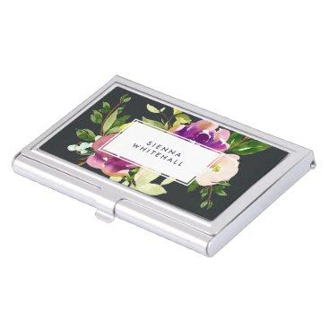 Professional Business Vibrant Bloom | Personalized Watercolor Floral Business Card Holder