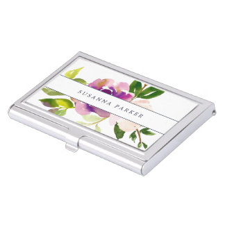 Vibrant Bloom | Personalized Watercolor Floral Business Card Holder