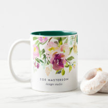 Vibrant Bloom | Personalized Watercolor Floral Two-Tone Coffee Mug