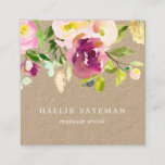 """Vibrant Bloom   Rustic Watercolor Floral Kraft Square Business Card<br><div class=""""desc"""">Garden floral chic business cards in a unique square format feature a top border of rose and peony flowers in lush watercolor shades of violet purple, blush pink and spring green printed on genuine brown kraft paper cards for a rustic finish. Add your contact information to the reverse side in...</div>"""