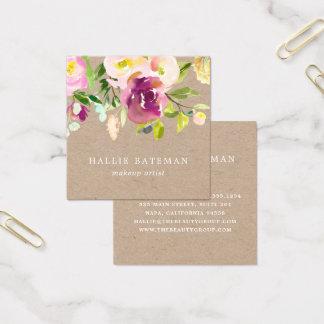 Vibrant Bloom | Rustic Watercolor Floral Kraft Square Business Card