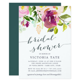 Vibrant Bloom Watercolor Bridal Shower Invitation