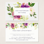 "Vibrant Bloom | Watercolor Floral Appointment Card<br><div class=""desc"">Chic appointment cards feature your business name overlaid on a bouquet of vibrant watercolor flowers in violet purple and jasper green. Reverse side has space for your customer&#39;s next appointment on the back,  along with your cancellation policy,  address and contact information,  topped by a matching floral border.</div>"