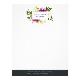 Vibrant Bloom   Watercolor Floral Logo Letterhead