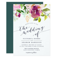 Vibrant Bloom Watercolor Floral Wedding Invitation