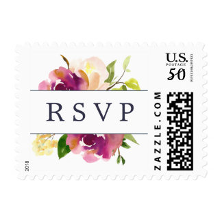 Vibrant Bloom Wedding RSVP Postage