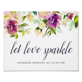 Vibrant Bloom Wedding Sparker Sendoff Sign