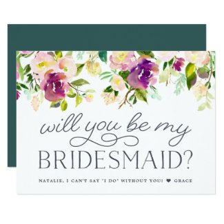 Vibrant Bloom   Will You Be My Bridesmaid Card