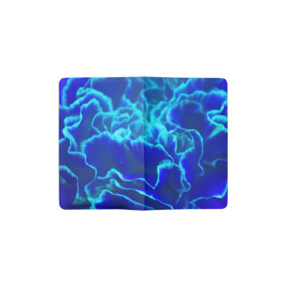 Vibrant Blue and Teal Carnation Flower Pocket Moleskine Notebook Cover With Notebook