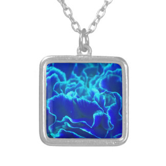 Vibrant Blue and Teal Carnation Flower Square Pendant Necklace
