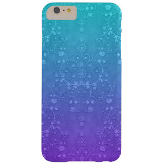 Vibrant Blue and Teal Fancy Damask Pattern Barely There iPhone 6 Plus Case