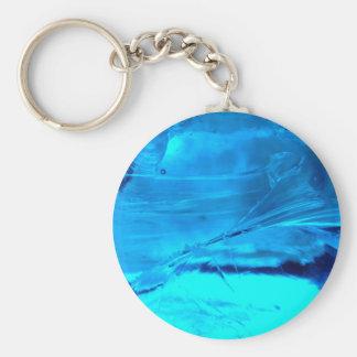 Vibrant Blue Crystal Geode Stone Print Keychain