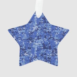 Vibrant Blue Digital Camo Camouflage Texture Ornament
