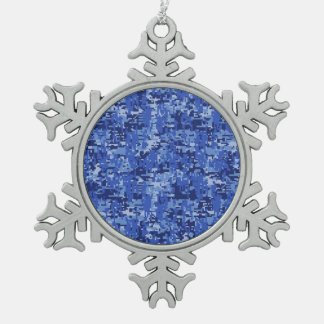 Vibrant Blue Digital Camo Camouflage Texture Snowflake Pewter Christmas Ornament