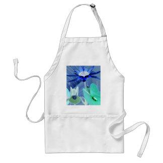 Vibrant Blue Green Neon Modern Pastel Floral Art Adult Apron