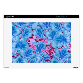 Vibrant Blue Pink Vintage Flowers Laptop Skins