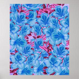 Vibrant Blue Pink Vintage Flowers Poster