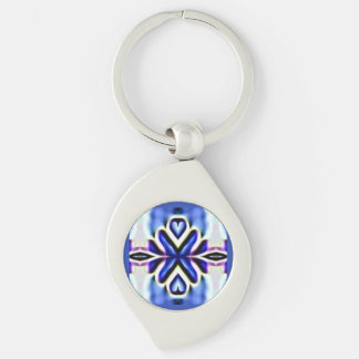 Vibrant Blue-Pink X Pattern Globe Design Key Ring Silver-Colored Swirl Metal Keychain