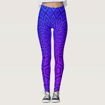 Aztec Themed Vibrant Blue & Purple Aztec Leggings