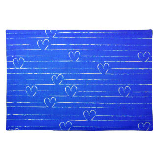 Vibrant Blue Sketched Heart Pattern Cloth Placemat