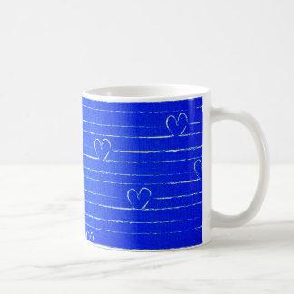 Vibrant Blue Sketched Heart Pattern Coffee Mug