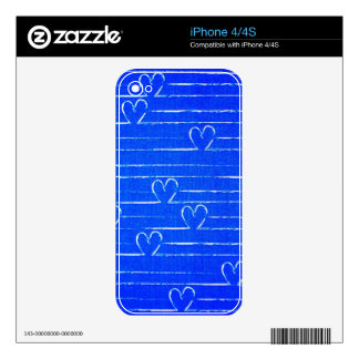 Vibrant Blue Sketched Heart Pattern Decals For iPhone 4S