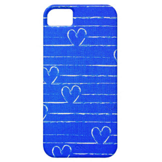 Vibrant Blue Sketched Heart Pattern iPhone SE/5/5s Case
