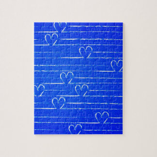 Vibrant Blue Sketched Heart Pattern Jigsaw Puzzle