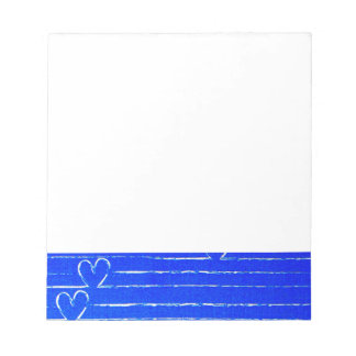 Vibrant Blue Sketched Heart Pattern Notepad