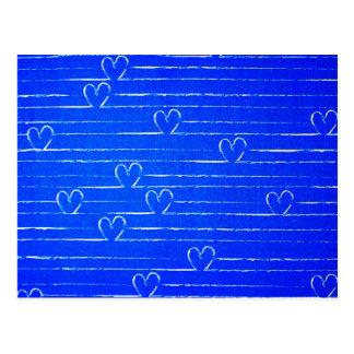 Vibrant Blue Sketched Heart Pattern Postcard