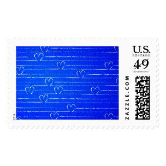 Vibrant Blue Sketched Heart Pattern Stamp