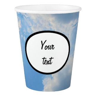 Vibrant blue sky with sun and clouds photo paper cup