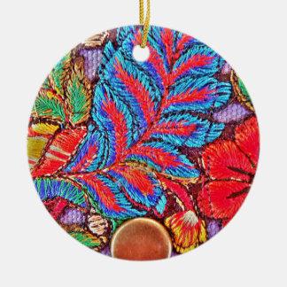 Vibrant Bold Festive Needlepoint Pattern Ceramic Ornament