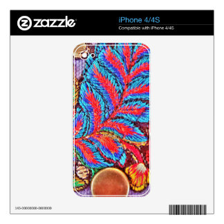 Vibrant Bold Festive Needlepoint Pattern iPhone 4 Decals