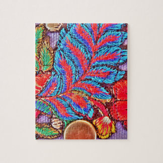 Vibrant Bold Festive Needlepoint Pattern Jigsaw Puzzle