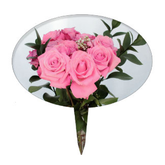 Vibrant Bouquet of Beautiful Pink Roses Cake Topper