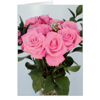 Vibrant Bouquet of Beautiful Pink Roses Card