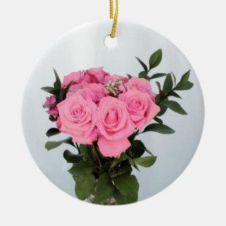 Vibrant Bouquet of Beautiful Pink Roses Ceramic Ornament