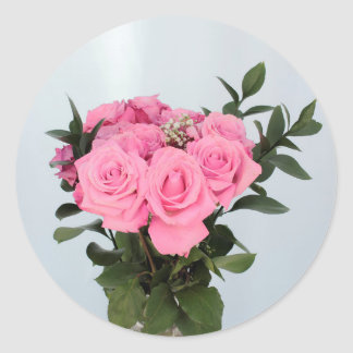 Vibrant Bouquet of Beautiful Pink Roses Classic Round Sticker
