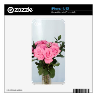 Vibrant Bouquet of Beautiful Pink Roses Decals For The iPhone 4