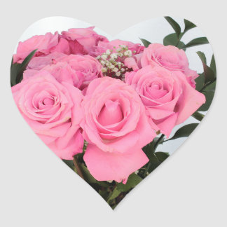 Vibrant Bouquet of Beautiful Pink Roses Heart Sticker