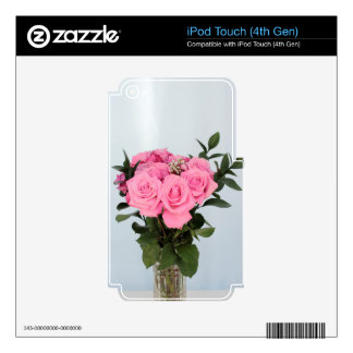 Vibrant Bouquet of Beautiful Pink Roses iPod Touch 4G Decal